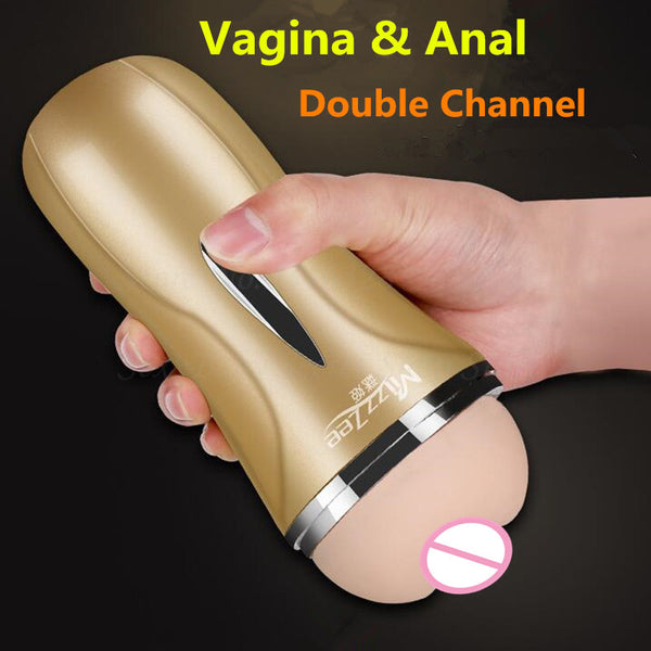 2018 New Double Channel Realistic Vagina & Anal Male Masturbation Cup,Artificial Soft Real Pussy Adult Sex Toys For Men