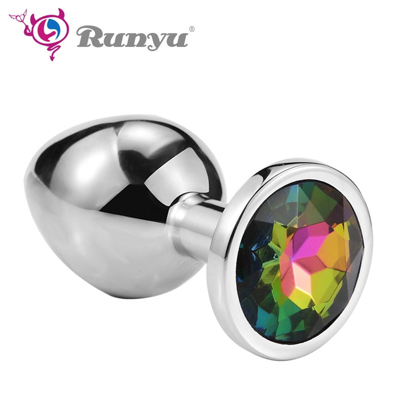 Runyu Intimate Metal Anal Plug With Crystal Jewelry Smooth Butt Plug No Vibrator Anal Bead Anus Dilator Anal Toys for Men/Women