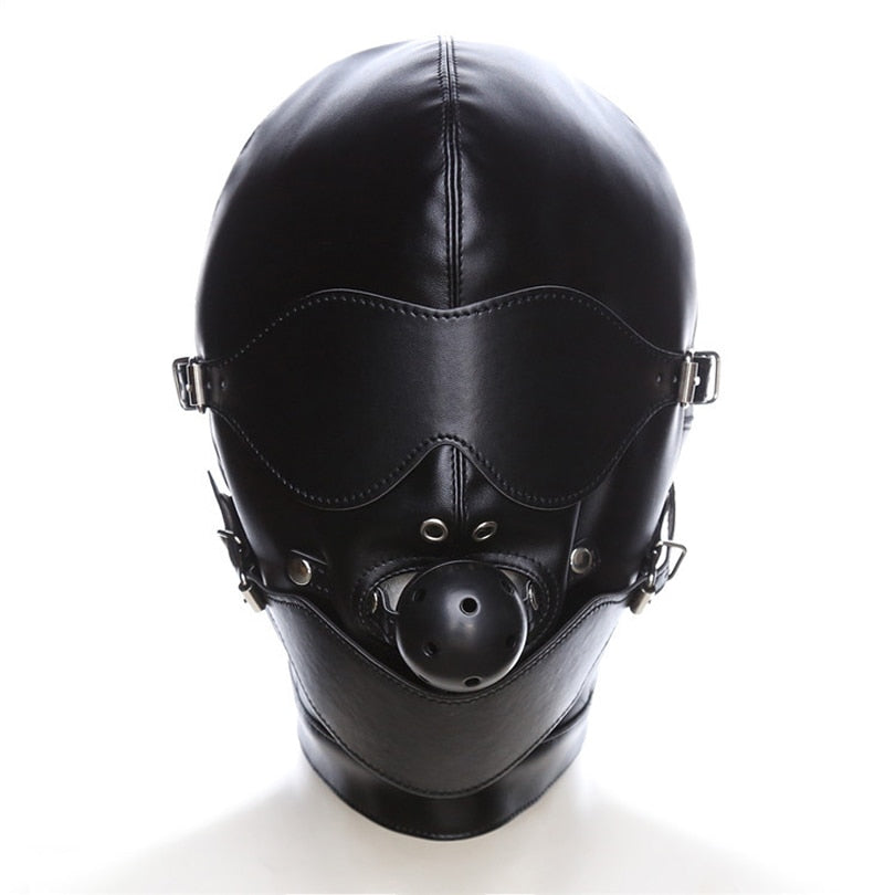 Black Leather Mouth Mask  Eye Slave Hood Ball For Couple