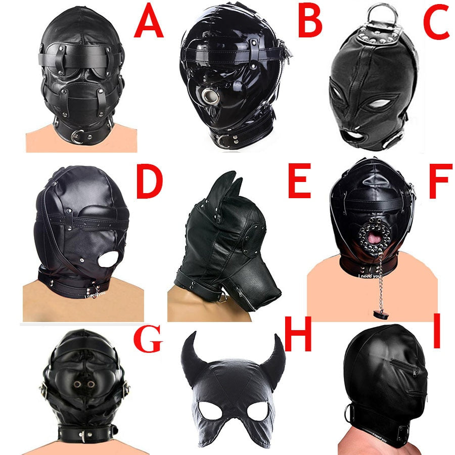 Leather Padded Hood Blindfold ,Head Restraints Harness Mask, BDSM Bondage Gimp,Cosplay Sex Toys For Couples