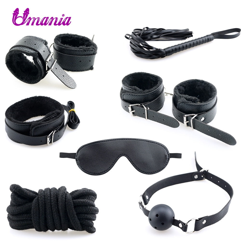 PU Leather BDSM Bondage Restraint Adult Sex Toys Products 7 Pcs/Set Erotic Toys Accessories Handcuffs For Couples SM Slave Games
