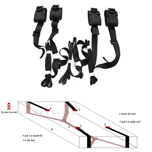 Sex Costumes Erotic Toys Bed BDSM Bondage Restraint System Games For Couple Adults Sexy Lingerie Hot Nylon Handcuff + Anklecuff