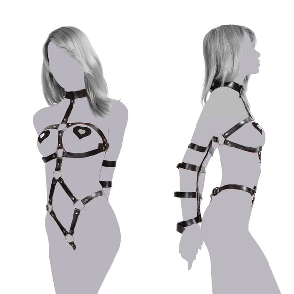 sexy lingerie slave body harness arm cuffs handcuffs for Bondage couples