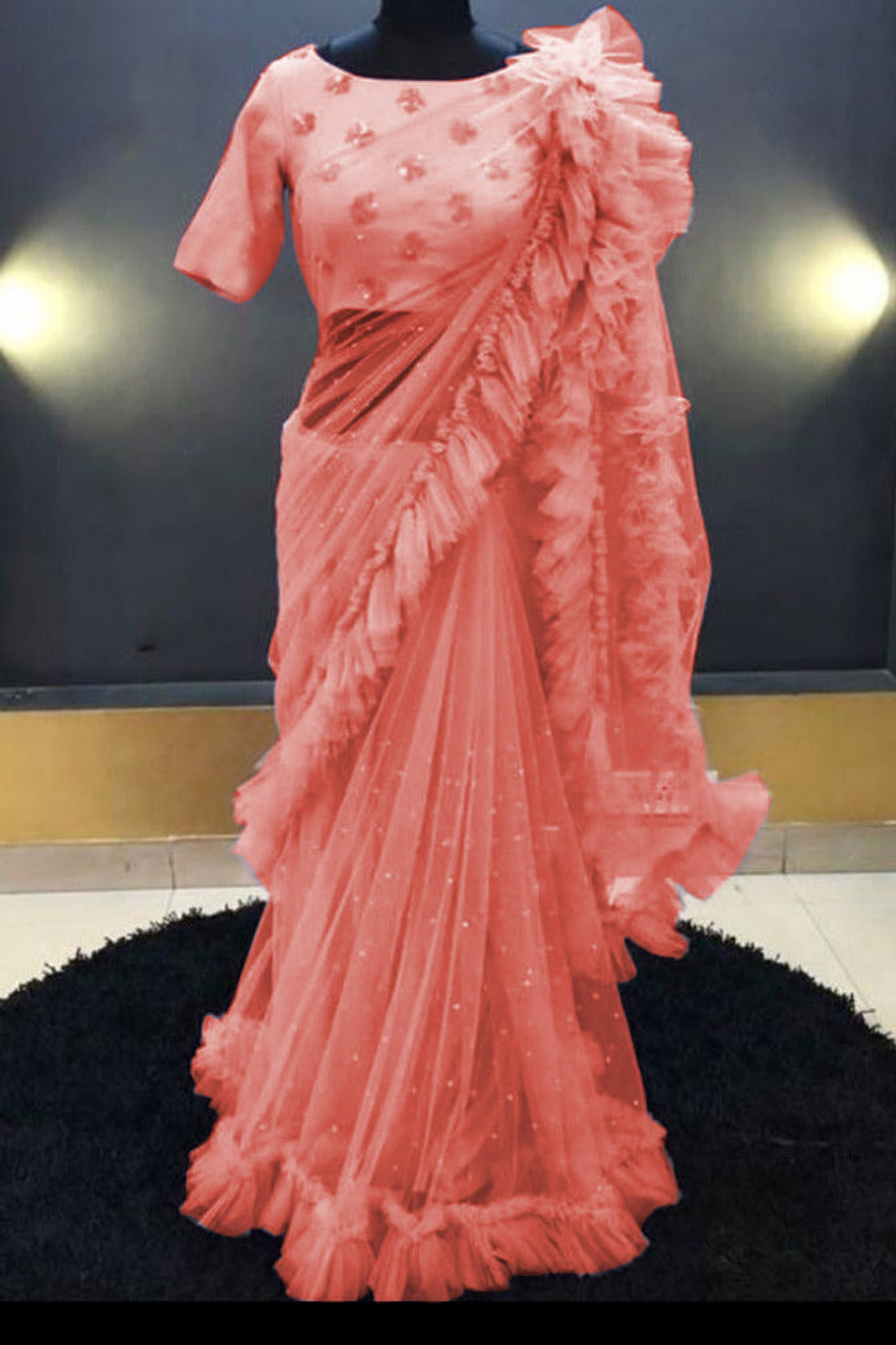 Demanding Peach Net With Dabbal Geddar Ruffle Style Saree With Heavy Diamond Embroidered Blouse - MAJISHARS110