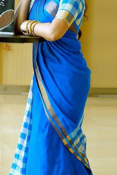 Blue Colored Patali Pallu Silk Saree With Blouse For Women - CD434