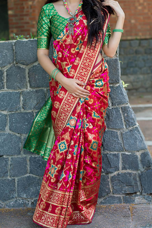 Red and Green Colored Traditional Silk Sarees With Blouse For Women - CD443