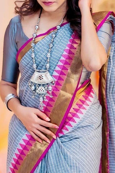 Grey Colored Traditional Silk Saree With Blouse For Women - CD464