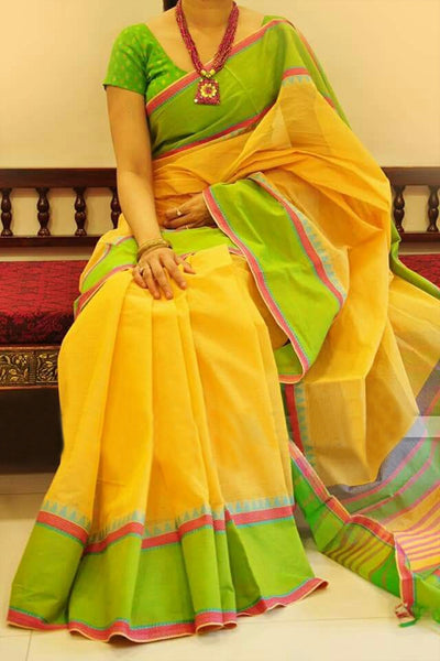 Yellow With Golden Colored Border Traditional Silk Saree With Blouse For Women - CD480