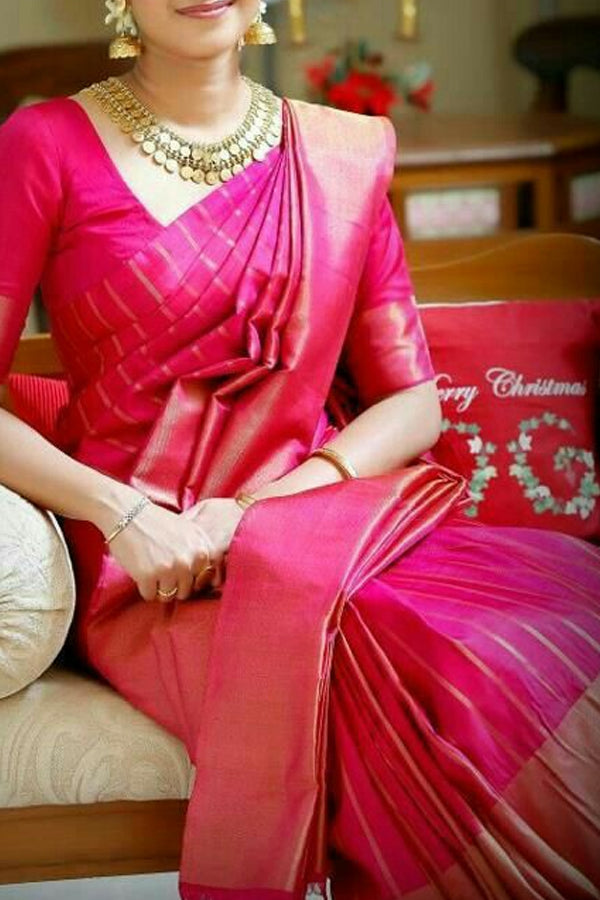 Pink Colored Traditional Silk Saree With Blouse For Women - CD487