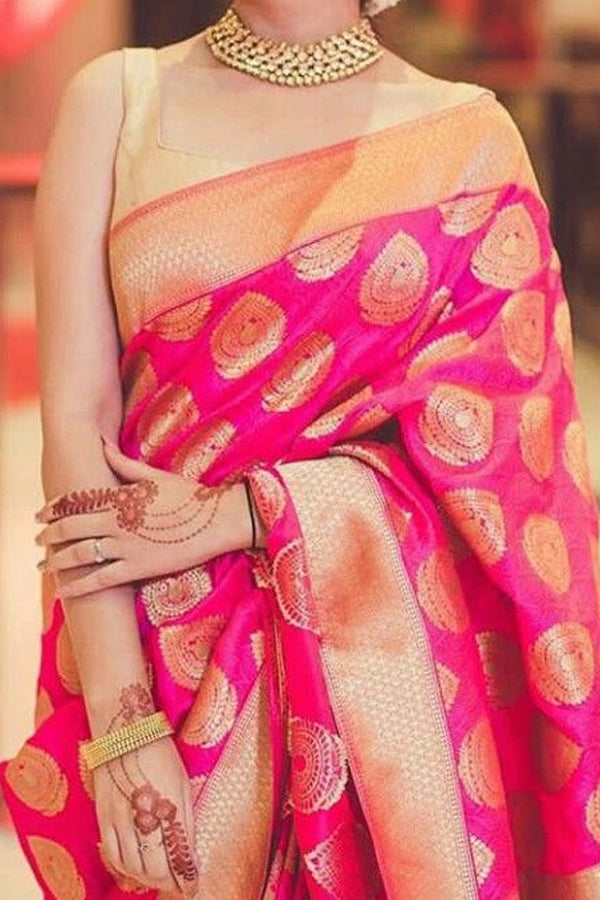 Pink Colored Traditional Silk Saree With Blouse For Women - CD497