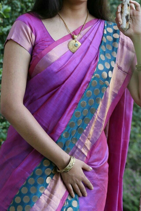Purple Colored Traditional Silk Saree With Blouse For Women - CD502