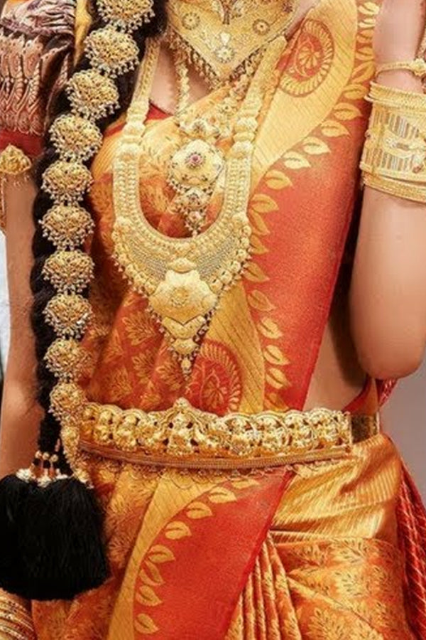 Golden Colored Traditional Silk Saree With Blouse For Women - CD514