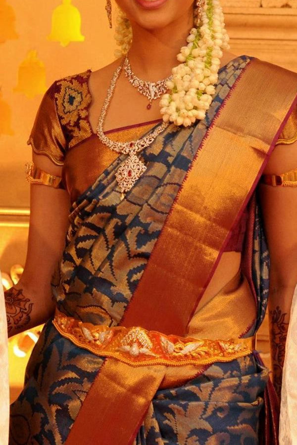 Golden Border Traditional Silk Saree With Blouse For Women - CD523