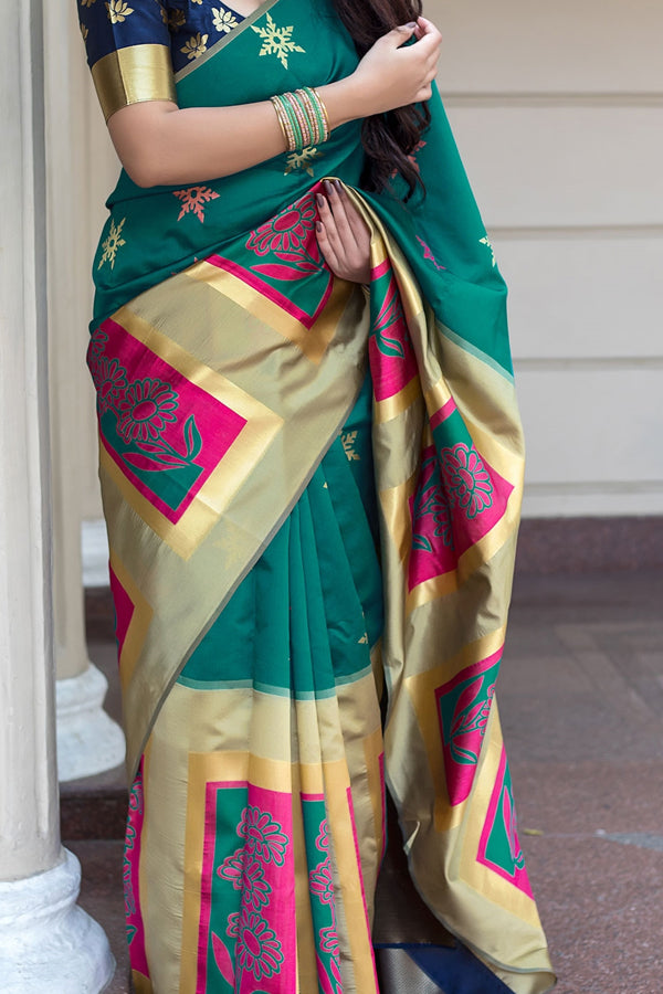 Rama Green Colored  Traditional Silk Saree With Blouse For Women - CD526