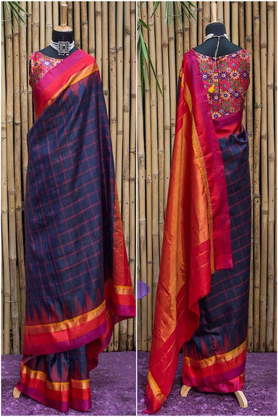 Blue Colored  Traditional Silk Saree With Blouse For Women - CD528