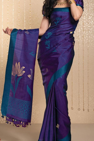 Purple Colored  Traditional Silk Saree With Blouse For Women - CD529