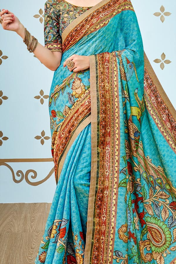 Cyan Colored Traditional Silk Saree With Blouse For Women - CD537