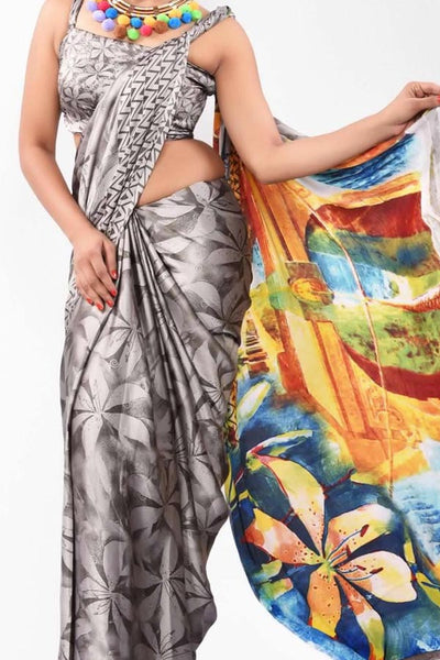 Beautiful Colored Traditional Silk Saree With Blouse For Women - CD540