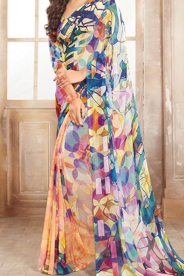 Multi Colored Traditional Silk Saree With Blouse For Women - CD543
