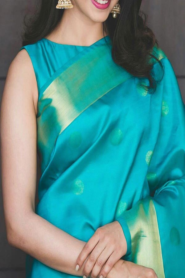 Turquoise Colored Traditional Silk Saree With Blouse For Women - CD554