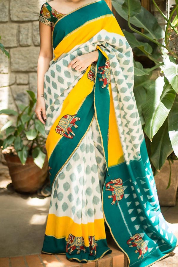 White N Rama Green Colored Traditional Silk Saree With Blouse For Women - CD556