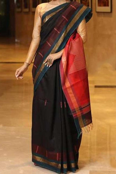 Black Colored Traditional Silk Saree With Blouse For Women - CD570