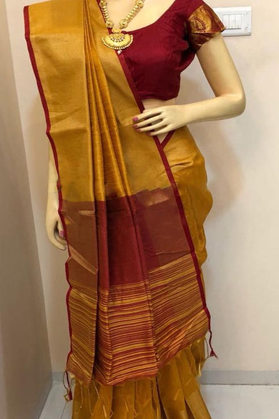 Yellow Colored Traditional Silk Saree With Blouse For Women - CD571