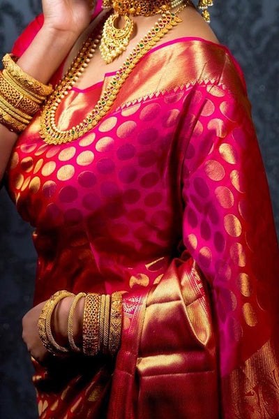Rani Pink Colored Traditional Silk Saree With Blouse For Women - CD573
