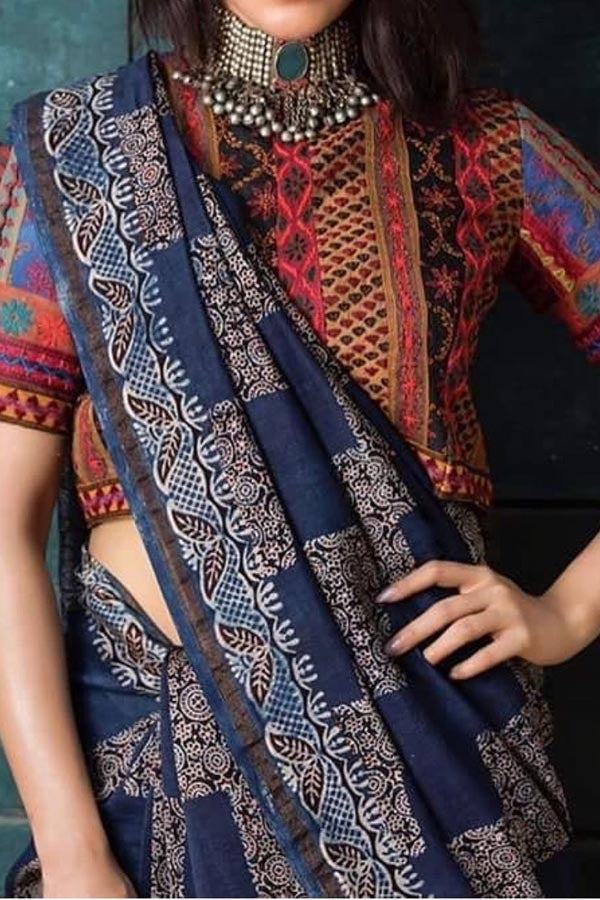 Blue Colored Traditional Silk Saree With Blouse For Women - CD579