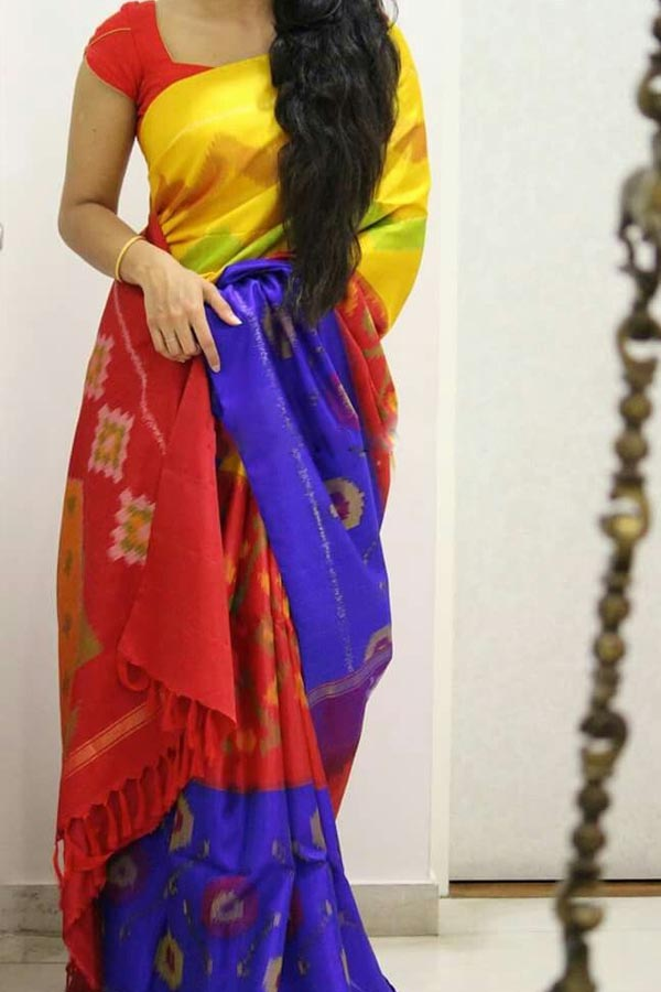 Multi Colored Traditional Silk Saree With Blouse For Women - CD588