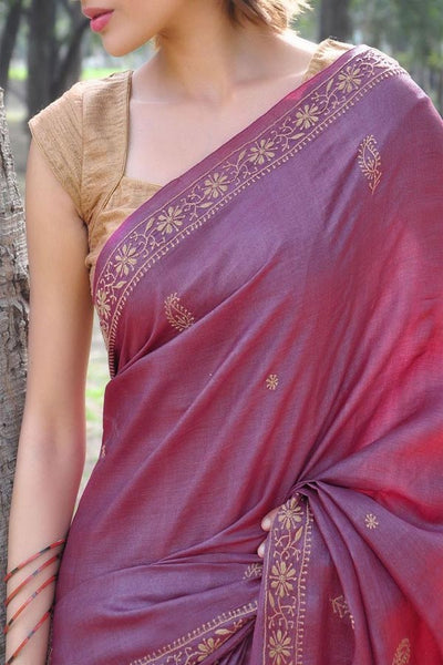 Onion Pink Colored Traditional Silk Saree With Blouse For Women - CD593