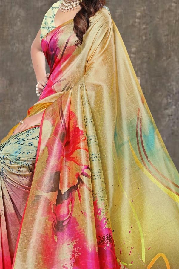 Multi Colored Traditional Silk Saree With Blouse For Women - CD595