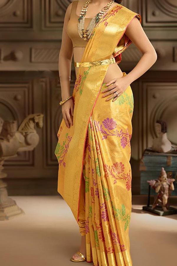 Yellow Colored Traditional Silk Saree With Blouse For Women - CD602