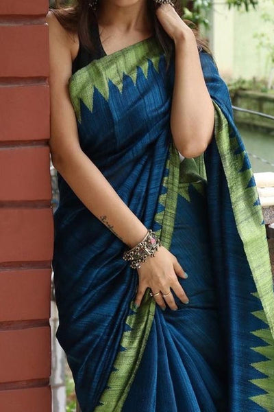 Blue Colored Traditional Silk Saree With Blouse For Women - CD603