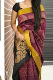 Maroon Colored Traditional Silk Saree With Blouse For Women - CD614