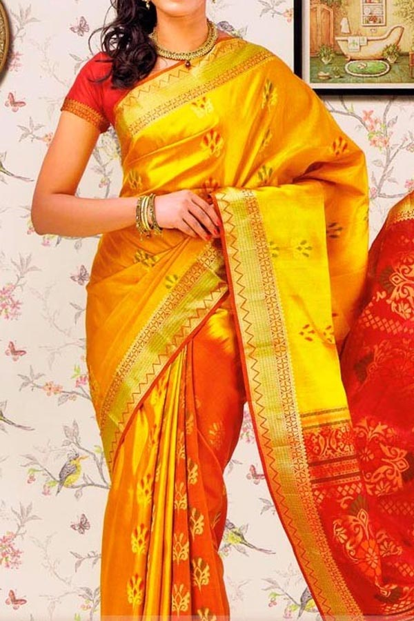 Yellow Colored Traditional Silk Saree With Blouse For Women - CD615