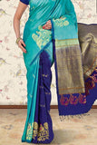 Cyan - Blue Colored Traditional Silk Saree With Blouse For Women - CD616