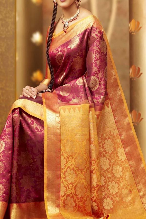 Pink - Yellow  Colored Traditional Silk Saree With Blouse For Women - CD619