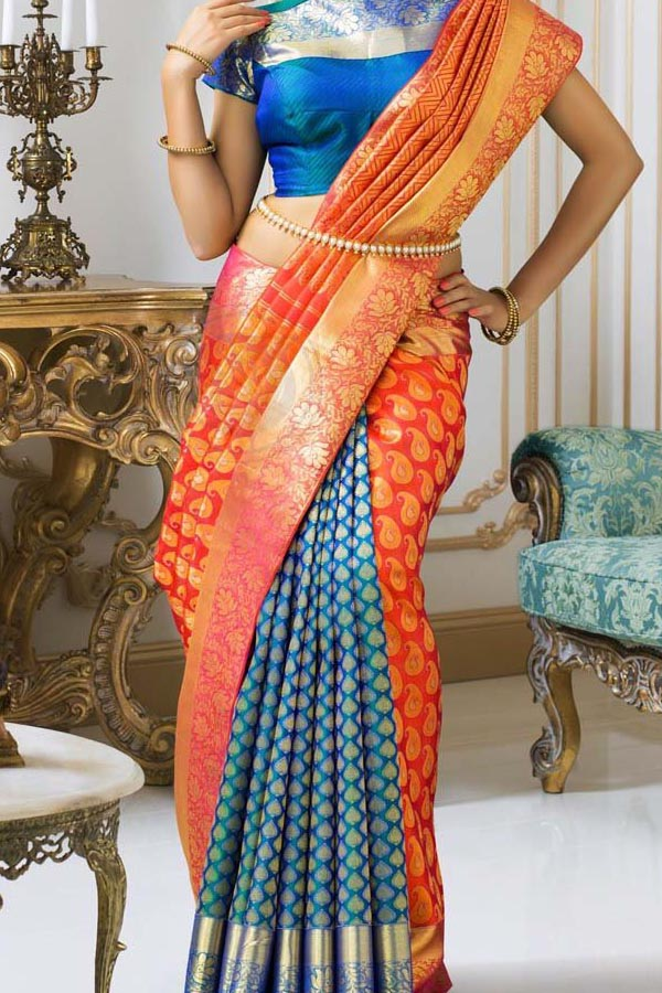 Blue - Orange Colored Traditional Silk Saree With Blouse For Women - CD620