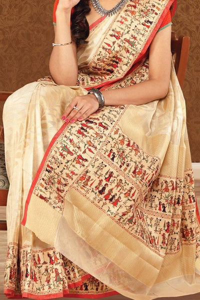 Beige Colored Traditional Silk Saree With Blouse For Women - CD623