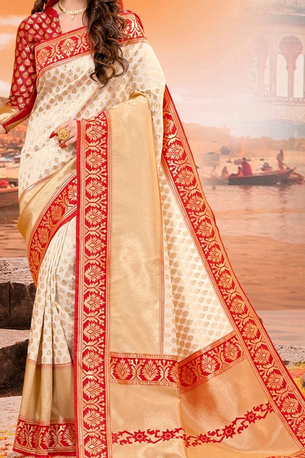Cream - Red Colored Traditional Silk Saree With Blouse For Women - CD624
