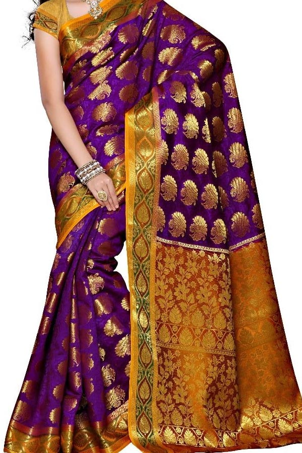 Purple Colored Traditional Silk Saree With Blouse For Women - CD625