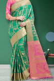 Green Colored Traditional Silk Saree With Blouse For Women - CD627