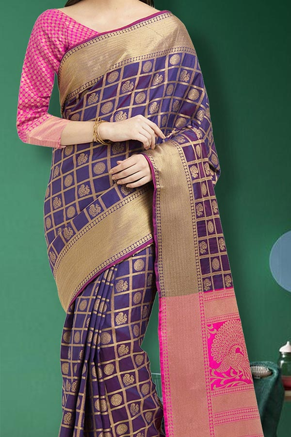 Purple Colored Traditional Silk Saree With Blouse For Women - CD628
