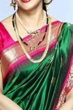 Green Colored Traditional Silk Saree With Blouse For Women - CD630
