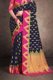Blue - Pink Colored Traditional Silk Saree With Blouse For Women - CD631