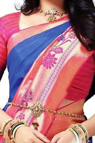 Blue - Pink Colored Traditional Silk Saree With Blouse For Women - CD633