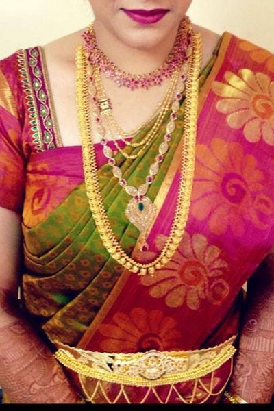 Green - Pink Colored Traditional Silk Saree With Blouse For Women - CD635