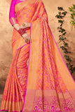 Orange Colored Traditional Silk Saree With Blouse For Women - CD642