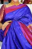 Blue Colored Traditional Silk Saree With Blouse For Women - CD643